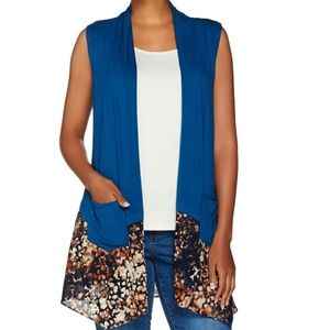 LOGO by Lori knit vest with printed trim & pockets